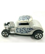 Hot Wheels 1932 Ford Coupe First Edition 1997 White Blue Flames Loose - $9.70