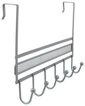 DecoBros Over The Door 6 Hook Organizer Rack - Silver image 1