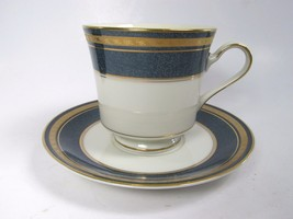 Mikasa Grande Ivory Imperial Lapis Cup Saucer Set Excellent  L2826 - $9.89