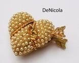 DE NICOLA Gold Plated Pearl Rhinestone HEART Trinket Pill Box - Vintage