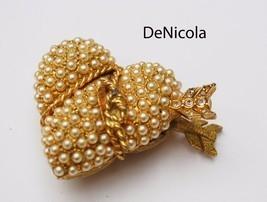 DE NICOLA Gold Plated Pearl Rhinestone HEART Trinket Pill Box - Vintage - $33.00