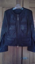 INC Black Leather Jacket - Petite / Medium - Zippered Front and Zippers ... - $27.70