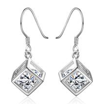 Swarovski Crystal Rubix Cube Drop Earring in White Gold Plated - $27.99