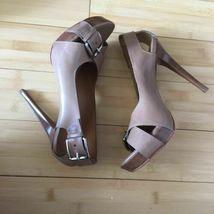 Michael Kors Heels Open Toe leather tan nude size 9.5 EUC image 3