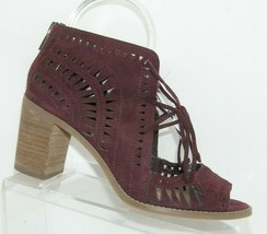 Vince Camuto Tarita purple suede laser cut out zip lace up sandal heels 8M - $33.30