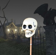 POTTERY BARN SKULL ON STAKE – NIB – STICK WITH AN EERIE OUTDOOR DÉCOR! - $49.95