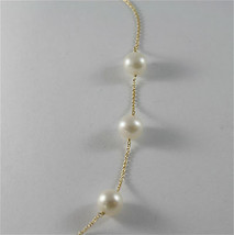 18K YELLO GOLD NECKLACE WITH ROUND WHITE FRESHWATER PEARLS MADE IN ITALY  image 2