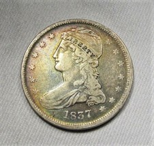 1837 Silver Capped Bust Half Dollar CH VF Coin Very Nice Toning AK501 - $192.47