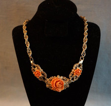 Vintage Faux Coral Carved Celluloid Rose Floral Necklace Choker Gold Tone - $54.95