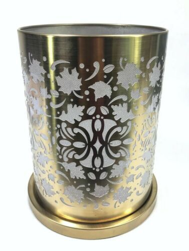 PARTYLITE Enchanted Golden Leaves Votive Tealight Votive Hurricane Candle Holder
