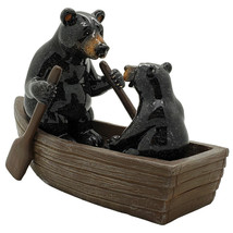 Pacific Giftware Animal World Black Bears Family in Canoe Resin Figurine - £14.09 GBP