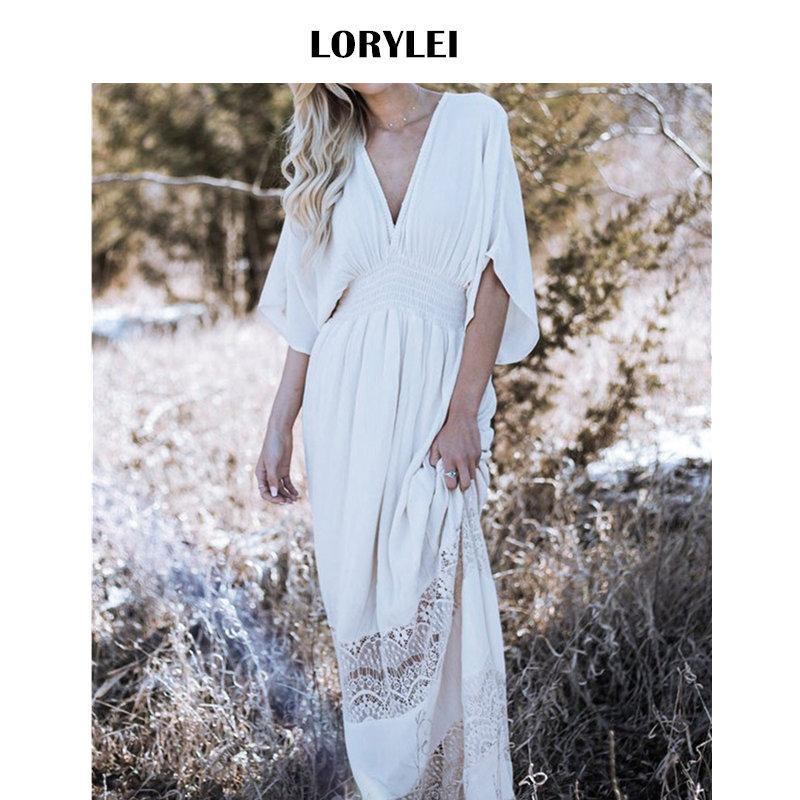 88c414698 Ant lace patchwork high waist deep v neck greece beach dress cotton tunic  women summer beachwear