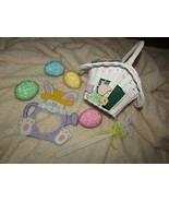 """EASTER white wicker basket, four 3"""" eggs, plant pic, frame (Easter bx) - $12.20"""