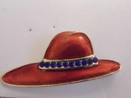 VTG Red Hat Enamel Brooch Blue Tone Gems Costume Fashion Jewelry Pin - $9.66