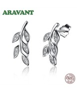 New Fashion 925 Sterling Silver Dazzling CZ Leaves Tree Of Life Stud Ear... - $17.03