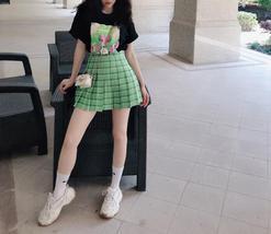 Red Plaid Tennis Skirt Women Girls Plaid Pleated Mini Skirt Plus Size image 8