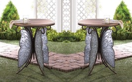 Set of 2 Rustic Butterfly Base with Round Wooden Top Accent Side Tables - $198.80