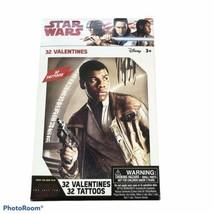 Star Wars Valentines Day Cards Tattoos 32 School Pack Rey Finn Chewy Kyl... - $5.45