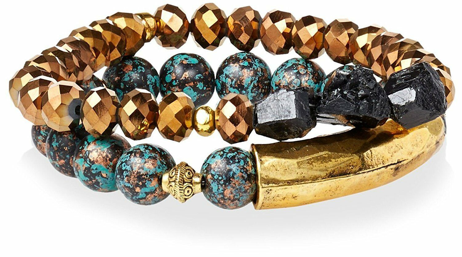 Gemelli Gold Tone Boho Turquoise & Brown Agate Austrian Crystal Beaded Bracelet