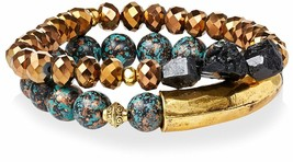 Gemelli Gold Tone Boho Turquoise & Brown Agate Austrian Crystal Beaded Bracelet image 1