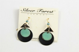 ESTATE VINTAGE Jewelry NOS ON CARD SILVER FOREST VT ANODIZED METAL EARRINGS - $10.00