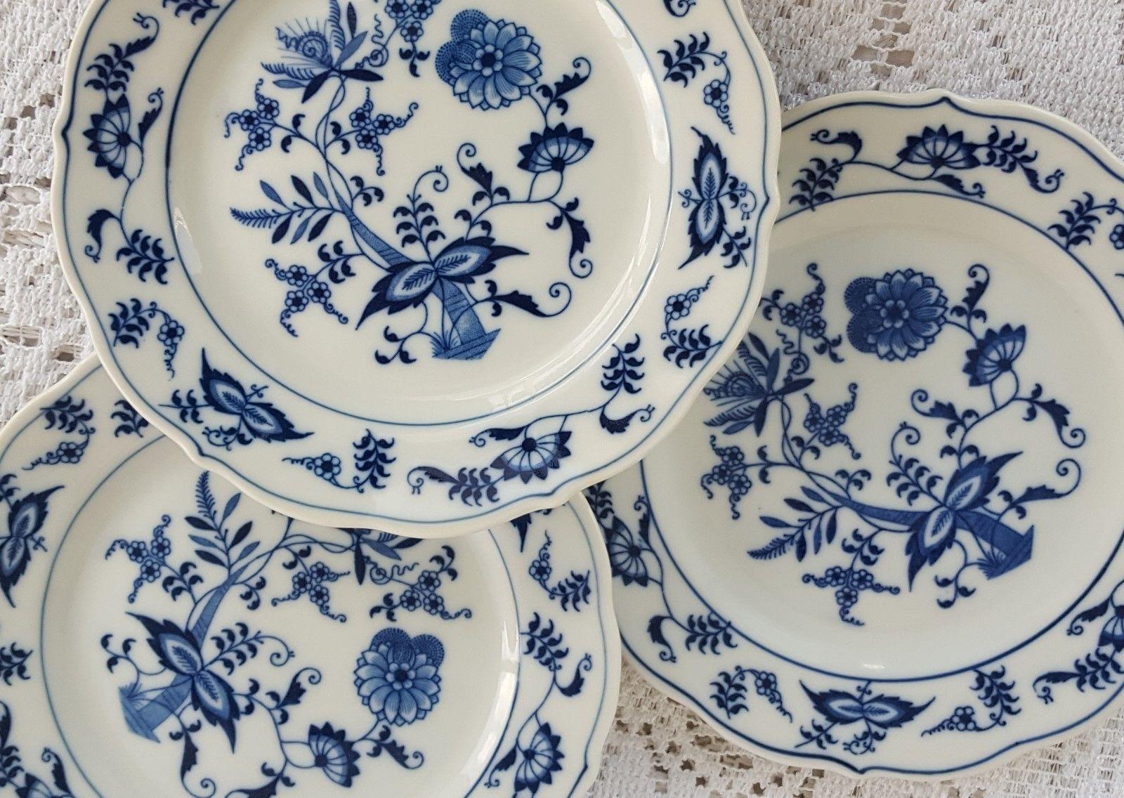 Set of 3 VIntage Blue Danube Bread \u0026 Butter Plates 1950\u0027s Banner Ribbon Onion - $14.99 & Blue Danube Plates (1950s): 1 listing