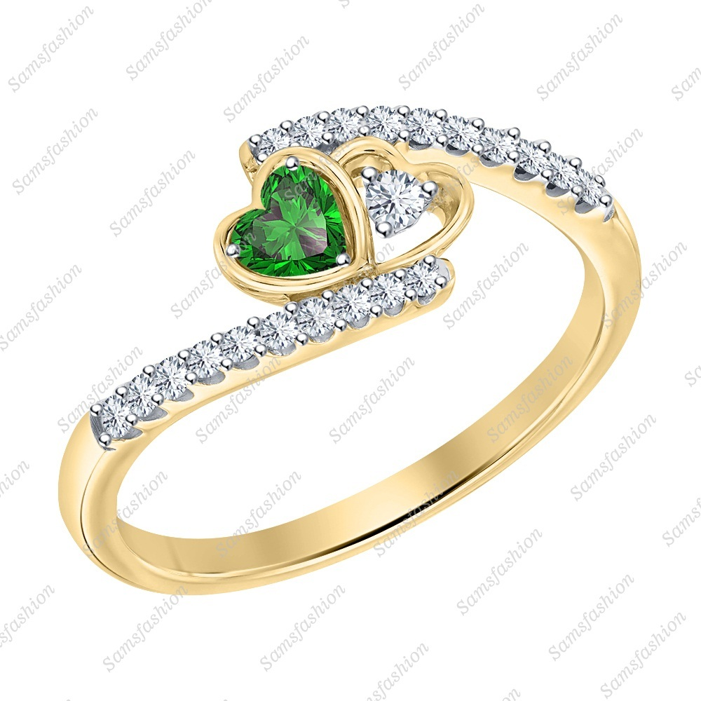 Primary image for Heart Green Emerald & Dia 14k Yellow Gold 925 Silver Double Heart Wedding Ring