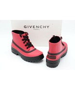 NIB Givenchy Paris Glaston Laced Red Black Ankle Rain Boots New 7 37 - $325.00