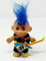 Russ Troll Doll Trolls Punk Rocker Blue Mohawk Electric Guitar Metal Ban... - $12.84