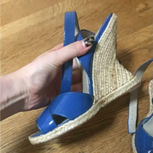 Christian Louboutin Espadrille Strap Enamel Sandals Wedge Sole US 6 Rare USED image 3