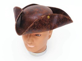 Pirate Tricorn Hat. Brown 'Ancient Look'.  Pirates Fancy Dress Accessory... - $6.99