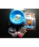 Paw Patrol LOT: 2 Pairs Socks, Note Set and 2Pk Sippie Bowls - $9.89