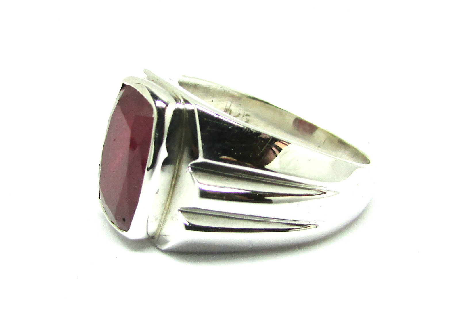925 Sterling Silver Natural A+ Quality Garnet Gemstone Handmade Men's Ring image 2