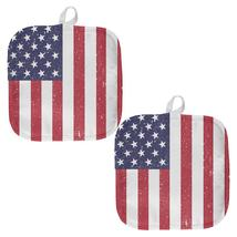 4th of July American Flag Distressed All Over Pot Holder (Set of 2) - $18.95