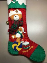 "Adorable Plush Bear with Bell Christmas Stocking 20"" Long 12"" Wide - $14.34"
