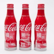 2 Yokohama & Setouchi Coca Cola Aluminum Full bottle 3 250ml Japan Limited - $38.61