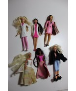 lot 6 mini Barbies bratz dolls long hair dressed, for ornaments doll hou... - $18.24