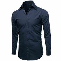 Omega Italy Men's Long Sleeve Solid Navy Button Up Dress Shirt - 3XL image 4
