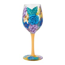 """Blue Florals """"Designs by Lolita"""" Wine Glass 15 o.z. 9"""" High  Gift Boxed image 2"""