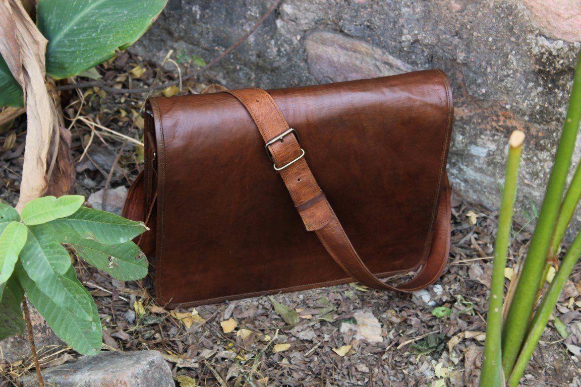43f007684c New Men s Vintage Brown Leather Full Flap Shoulder Laptop Satchel Messenger  Bag
