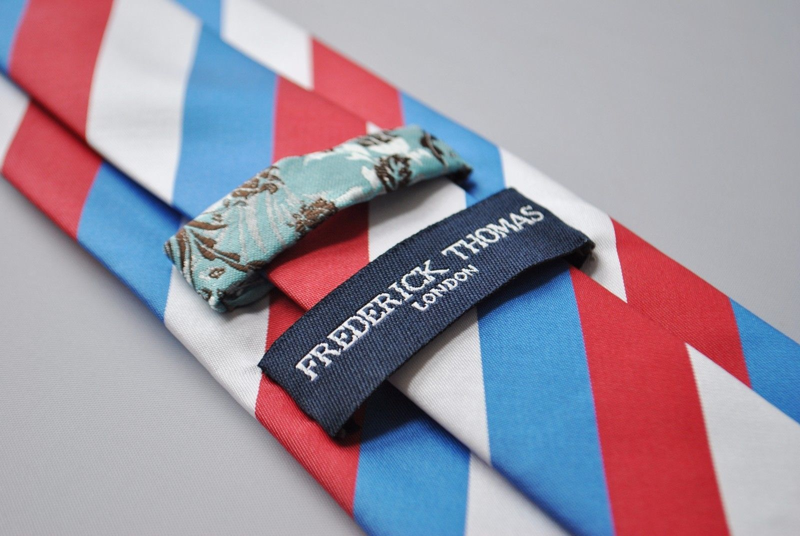 Frederick Thomas red, white & blue striped design mens tie FT1728 Rangers FC