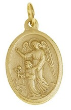 New Gold plated Pendant Charm ARCHANGEL Guardian Angel Watch over Protect child - $21.77