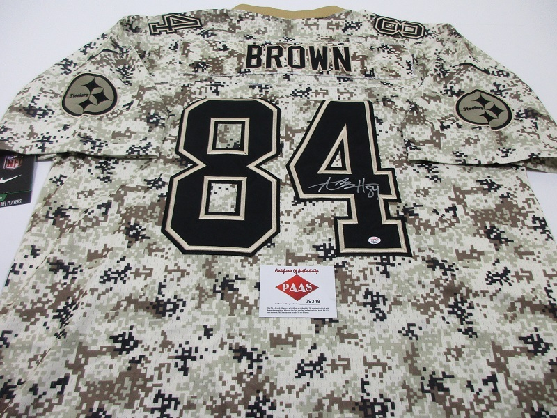 cheap for discount 97775 3d960 ANTONIO BROWN - HAND SIGNED STEELERS DIGITAL CAMO NFL LOGO FOOTBALL JERSEY  - COA