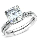 Women's Stainless Steel High polished Cubic Clear 3.01(g) Engagement Ring - $19.05
