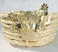Vintage cat in bucket brooch pin spring flower gold tone signed - $14.40