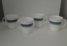 Lot of 4 Jennie Corning Mugs with Green and Blue Bands - $18.69
