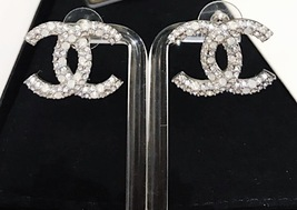 AUTHENTIC CHANEL CRYSTAL LARGE CC LOGO RHINESTONE EARRINGS SILVER image 4
