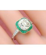 ESTATE 2.05ct OLD MINE CUSHION DIAMOND EMERALD HALO ENGAGEMENT COCKTAIL ... - $19,601.01