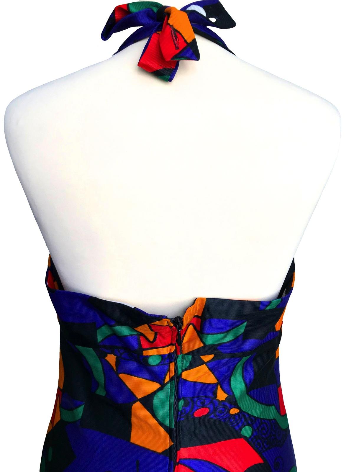70s Pop Art Abstract Print Blue Orange Red Green Halter Low Cut Open Back Maxi D