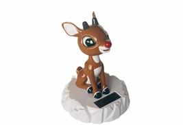 Rudolph Red Nosed reindeer Bobblehead Clock Nodder vtg figurine Christma... - $28.98